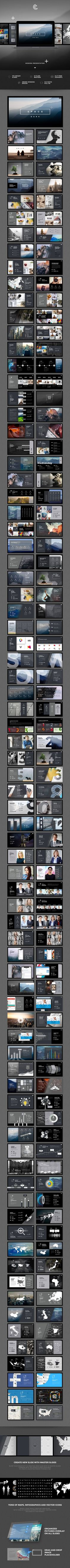 Space Dark PowerPoint — Powerpoint PPTX #continuity #beautiful • Available here ➝ https://graphicriver.net/item/space-dark-powerpoint/21004003?ref=pxcr