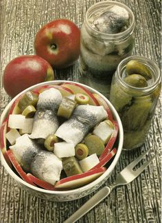 Apple Herring Salad, with pickles and stuffed olives. No one could ever be that pregnant.... gross foods