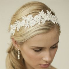 Ivory Lace Applique Floral Headband