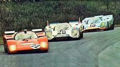 ZELTWEG 1971 Sefac Ferrari 512M followed bu two Porsche 917
