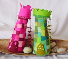Leuk om van restjes vilt te maken. Sprookjesachtige kasteeltorens.