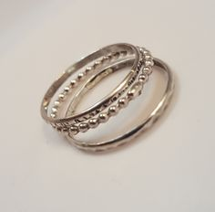 Ladies Sterling Silver Stacking Rings - Triplet Stacking Bands by SilverBearJewelryCo on Etsy https://www.etsy.com/listing/464071562/ladies-sterling-silver-stacking-rings