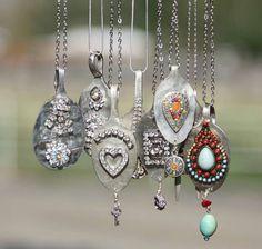 Second Time Silver....really neat spoon  rhinestone gemstone mix jewelry!!!!