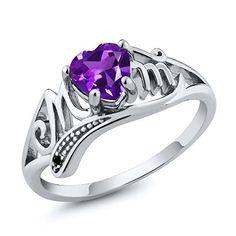 Ct Heart Shape Purple Amethyst and Black Diamond White Gold Mom Ring, Women's, Size: 5 Amethyst Gemstone, Purple Amethyst, Pink Sapphire, Peridot Rings, Yellow Gold Rings, Silver Rings, Rose Gold, Mom Ring, Schmuck