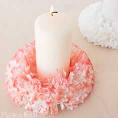 These coffee filter candle holders are so easy to make -  skip the watercolors to turn this into a 10-minute craft!
