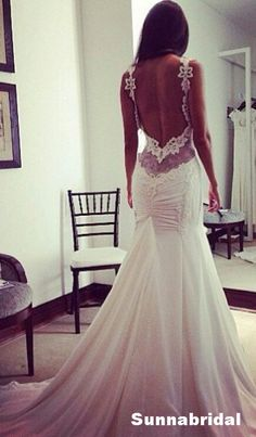 Sexy ivory backless shoulder straps lace applique by Sunnabridal, $399.00