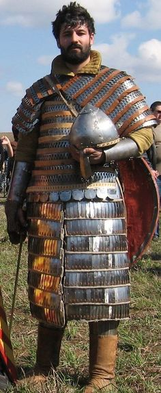 Reenactor in a suit of lamellar armor #larp