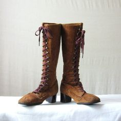 Lace Up Boots Suede Boots 60s 70s Brown Tall Boots Size 6 - pinned by pin4etsy.com