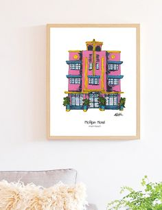 Miami South Beach, historic hotel in Miami FL. Perfect gift, family vacation memories, pink hotel