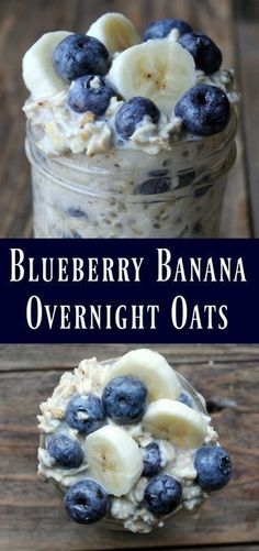 This is a delicious oats in a jar recipe… Blueberry Banana Overnight Oats Recipe. This is a delicious oats in a jar recipe…,Healthy recipes Blueberry Banana Overnight Oats Recipe. Healthy Desayunos, Healthy Snacks, Healthy Recipes, Bariatric Recipes, Eating Healthy, Healthy Breakfasts, Healthy Blueberry Recipes, Healthy Steak, Dairy Free Breakfasts