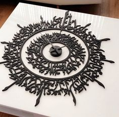 Ayatul Kursi (The Verse of the Throne) handcrafted wall clock in solid wood. A beautifully designed functional wall art. This clever piece serves as both a wall Calligraphy Letters Design, Arabic Calligraphy Art, Caligraphy, Lettering Design, Islamic Decor, Islamic Wall Art, Modern Clock, Modern Wall Art, Wall Art Uk