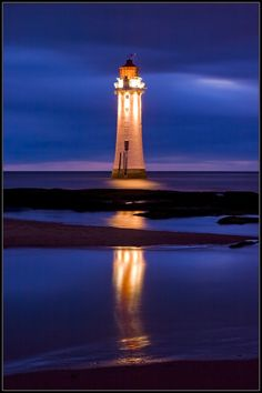 New Brighton Lighthouse at Night by Anthony Smith