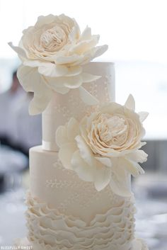 Ivory and Champagne Ruffled Wedding Cake   by Blissfully Sweet