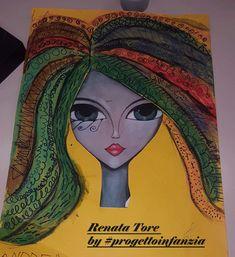 Capelli al vento dall'arte di Romina Lerda. In autonomia, ibambini hanno inserito a piacere tutti i segni grafici acquisiti nel tempo