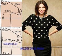 molde de blusa manga quimono fácil de fazer com medidas, corte e costura fácil