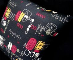 "Boomerang Beat Pillow Cover -- New, Black, Atomic, Tiki Barkcloth -- for 18"" x 18"" inch insert"