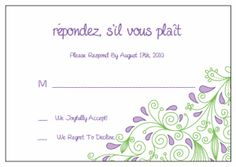 Response Cards (RSVP).  Printable Wedding Invitations Paisley Elise Suite: Purple and Green
