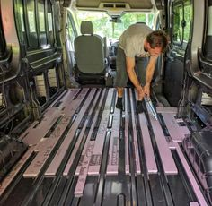 Floor Installation in a Camper Van Conversion Cargo Van Conversion, Diy Van Conversions, Van Conversion Interior, Camper Van Conversion Diy, Van Conversion Layout, Sprinter Van Conversion, Vw Lt Camper, Build A Camper Van, Camper Trailers