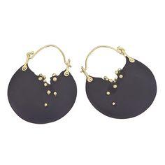 Whitby Jet & 18k gold earrings - $950