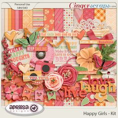 Happy Girls Gingerscraps Buffet Collection by Aprilisa Designs. The collection consists of   the packs of Elements Papers, , Krafties, Torn Papers, Alpha, Flairs, and Journal Cards At 50% off.  The Kit can also be bought in a separate packs. Gingerscraps Buffet sale end Sept. 5. Preview is the kit only