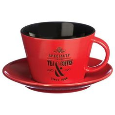 Price & Kensington Speciality Red Large Cup and Saucer 9oz ($4.32) ❤ liked on Polyvore featuring home, kitchen & dining, drinkware, red cup, red tea cups, stoneware mugs, tea cup saucer and red tea cups and saucers
