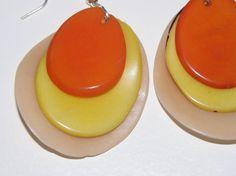 dangle drop earrings earhooks with beige orange by MaisonDelclef