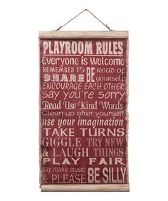 Look what I found on #zulily! Red 'Playroom Rules' Scroll Wall Plaque #zulilyfinds