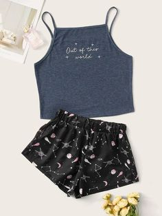 Shop Letter & Galaxy Cami PJ Set at ROMWE, discover more fashion styles online. Girls Fashion Clothes, Teen Fashion Outfits, Outfits For Teens, Girl Outfits, Cute Lazy Outfits, Simple Outfits, Trendy Outfits, Fresh Outfits, Cute Pajama Sets