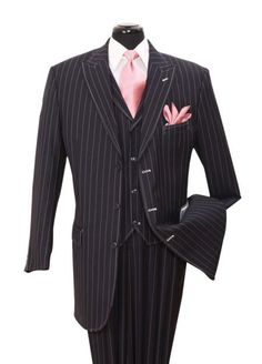 Navy Gangster Striped Vested Urban Men Suits | MensITALY  Price: US $149