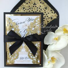 black and gold wedding Invitation by AlexandriaLindo on Etsy