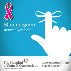 Remind yourself to schedule a potentially life-saving #mammogram. The Hospital of Central Connecticut can help: http://thocc.org/services/cancer/ #BreastCancer #Cancer #Screening