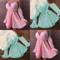 Twenty first century modern fashion trends 💛  - Pink or teal? Dm me if you know owner plz😘 . Cute Dresses, Beautiful Dresses, Casual Dresses, Prom Dresses, Elegant Dresses, Modern Fashion, Look Fashion, Fashion Trends, Fashion Ideas