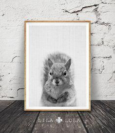 Écureuil impression, Woodlands Animal Wall Art, décor de chambre d