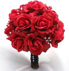 Natural Touch Bouquet Red Rose pearl--incorporate pearl beads into the homemade bouquets some how