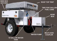 Off-Road Trailers Camping Offroad Jeep Camping, Off Road Camping, Off Road Camper Trailer, Trailer Build, Camper Trailers, Camping Ideas, Rv Camping Checklist, Camping Stuff, Off Road Jeep