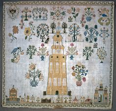 Sampler, 1764. Medium: silk embroidery on linen foundation Technique: embroidered in cross stitches on plain weave foundation
