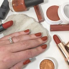 Terracotta nails . . . #nails #manicure #mani #flatlay #opi #bitebeauty #colourpop #smithandcult #orange #terracotta #burntorange Opi Gel Nail Polish, Nail Polish Colors, Iridescent Nail Polish, Neutral Nail Color, Opi Pink, Organic Nails, Rose Nails, Unique Makeup, Young Nails