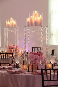 Best Wedding Reception Decoration Supplies - My Savvy Wedding Decor Tall Wedding Centerpieces, Reception Decorations, Event Decor, Table Decorations, Centerpiece Ideas, Chandelier Centerpiece, Candle Centerpieces, Chandelier Wedding, Centerpiece Flowers