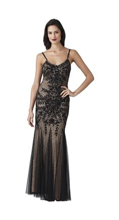 Style#: 091868980              Colors: Black              V-Neck Godet Gown