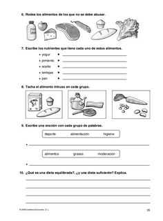 Actividades fotocopiables sobre alimentación Worksheets For Kids, Nutrition, Science And Nature, Classroom Organization, Biology, 3 D, Homeschool, Teaching, Education