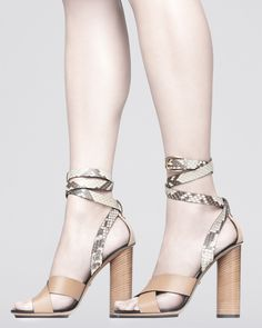 Gucci Snakeskin Ankle-Wrap Sandals