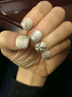 White glitter with accent nail