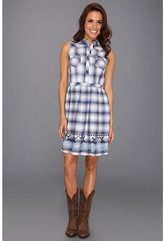 Stetson - 8638 Ombre Lurex Plaid Sleevless Dress (Blue) - Apparel $74.99