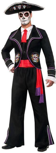 Men's Sugar Skull Day Of Dead Mariachi Macabre Costume