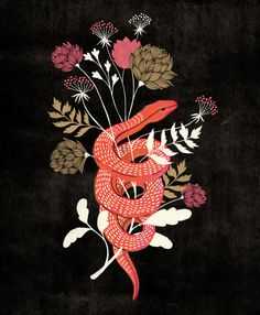 Snake and Flowers Giclee Print by MarissaRoseJohnson on Etsy