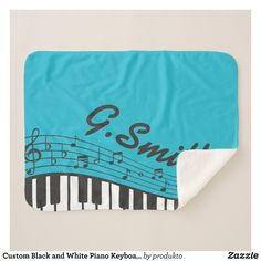 Custom Black and White Piano Keyboard. Add Name. Sherpa Blanket
