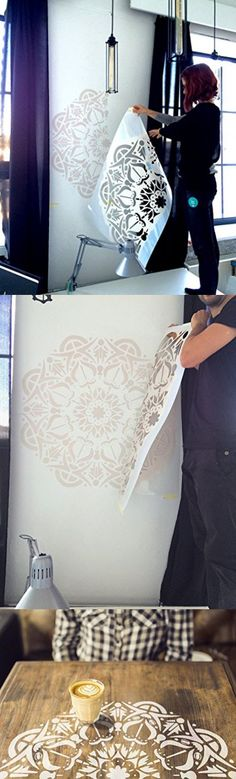 Mandala wall stencils for painting - Size M - Expedited 3 days delivery - Decorative Scandinavian wall stencil for DIY projects - Tribal pattern - Easy home decor - Bohemian Wall