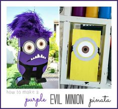 Despicable Me How to make a purple evil minion pinata. Idea for this year's valentine box-purple evil minion! Despicable Me Crafts, Despicable Me Party, Minions Despicable Me, Minion Bag, Minions Do Mal, Evil Minions, Purple Minion Party, Purple Minions, 12th Birthday Party Ideas