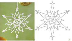 Crochet Bookmark Pattern, Crochet Snowflake Pattern, Crochet Lace Edging, Crochet Stars, Crochet Bookmarks, Crochet Snowflakes, Crochet Blocks, Crochet Diagram, Thread Crochet
