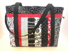 Check out this item in my Etsy shop https://www.etsy.com/listing/533276027/quilted-cotton-tote-bag-in-red-black-and